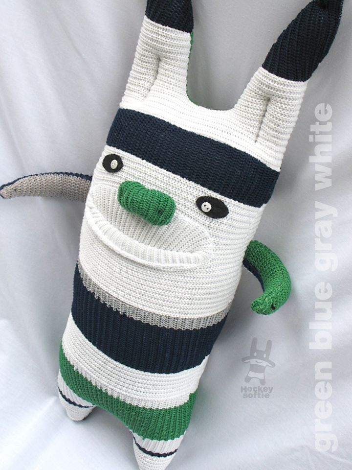 Hockey Softie, made with heart from hockey socks that have played with heart. Unique handmade softie created by upcycling reclaimed ice hockey socks! Recycle and begin again.