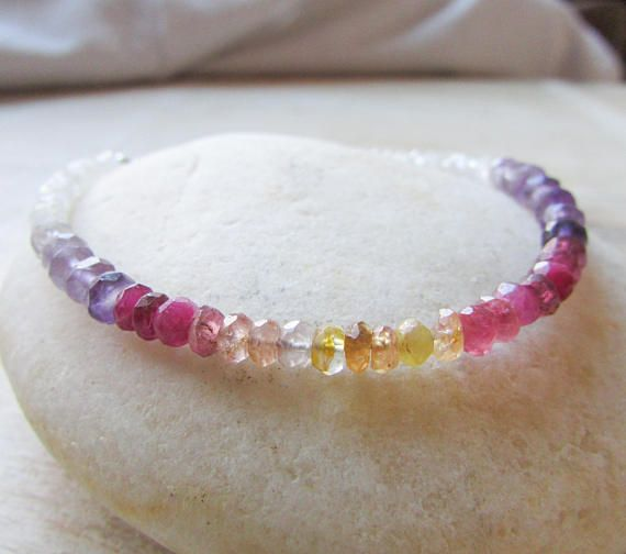 Pink Yellow Purple bracelet Amethyst Tourmaline Moonstone