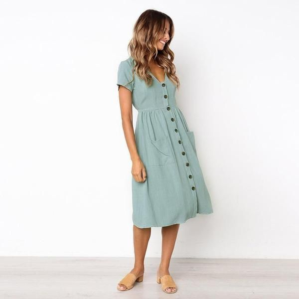 Button Down Short Sleeve Swing Dress with