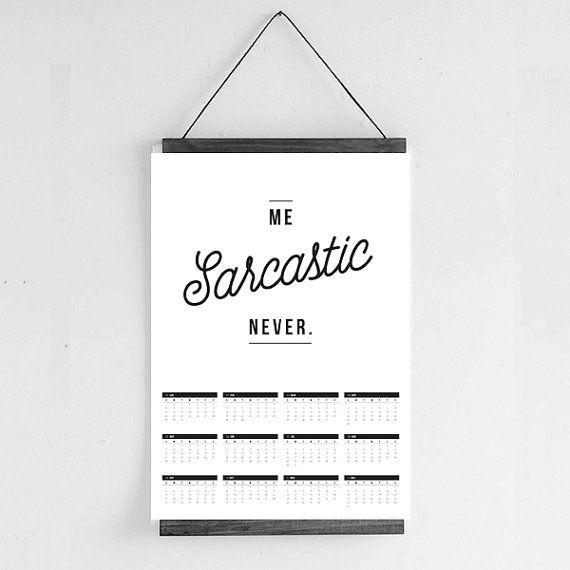 2017 Calendar  Funny Quote Calendar  Black by Hatchesandmatches