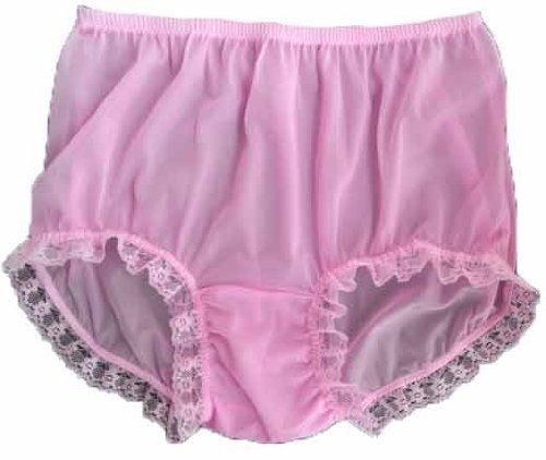 CLICK IMAGE TWICE FOR PRICING AND INFO :) #women #panties #lingerie #briefpanties #intimates #undergarment see more granny panties at http://zpanties.com/category/panties-categories/granny-panties/ - Handmade Pink Granny Briefs Panties Lingerie Sheer Nylon Lacy Knickers Underwear XXL Hip 38″ – 42″ « Z Panties