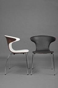 G458 Leather Dining Chair. Chrome Steel & Walnut Timber design, available in white or black leather