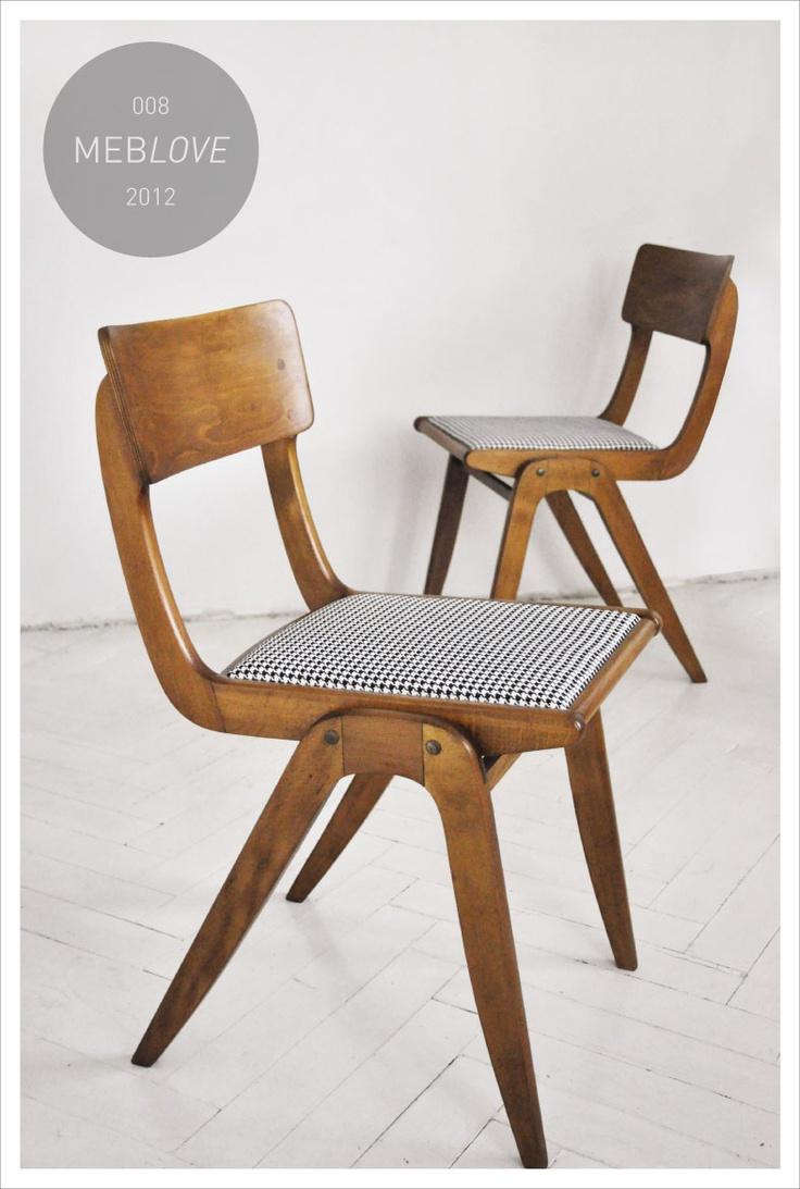 meblove 008, 009    vintage design hound's-tooth check chair
