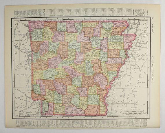 Original 1898 Map of Arkansas Kansas City by OldMapsandPrints