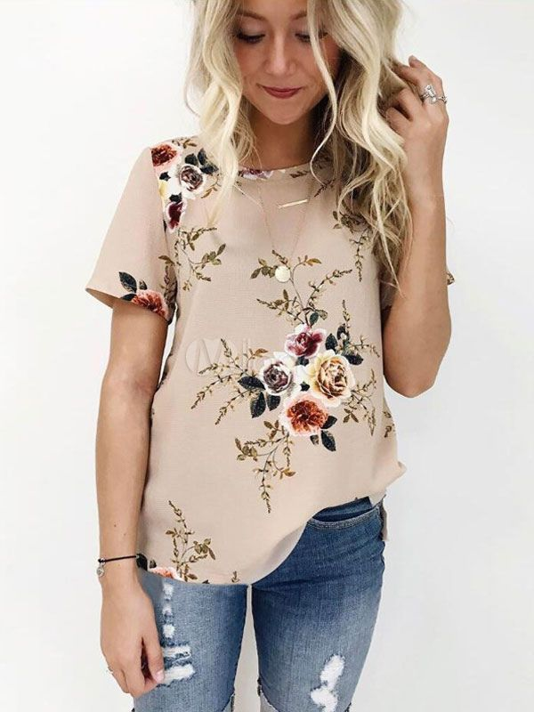 a78bb9e0fe31c4 Women Floral Blouses Short Sleeve Round Neck Casual Summer Top in ...