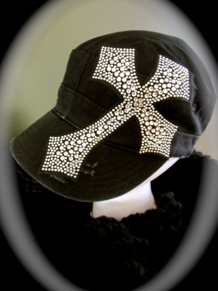 Black Cadet cap with rhinestone Cross$22 LuckyOneJewelry&Accessories; on FB