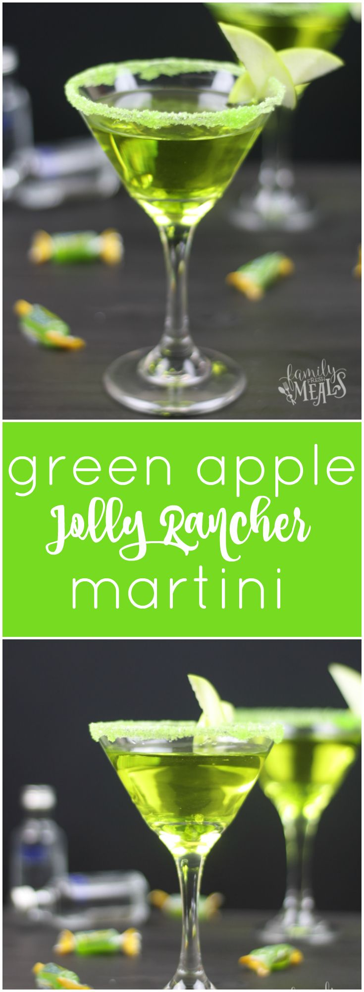 Jolly Rancher Green Apple Martini - FamilyFreshMeals.com - Pinterest -