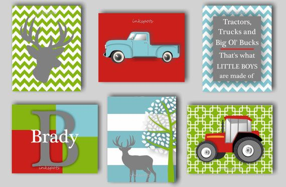 Baby Boy Nursery Art Deer Nursery Bedding Decor Transportation Nursery Tractor Nursery Woodland Nursery Farm Nursery Prints Choose Colors on Etsy, $65.00