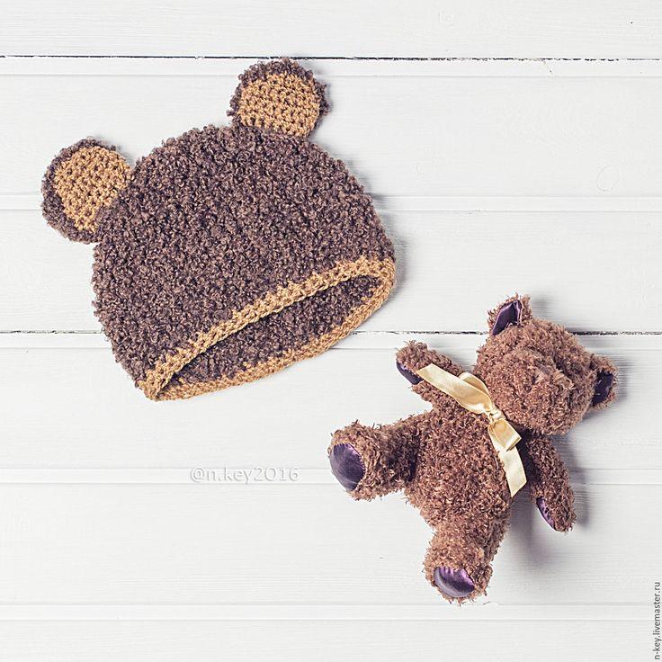 Купить Шапочка медвежонок для фотосессии малыша - коричневый, шапочка для фотосессии, шапочка для фотосессий, шапочка вязаная