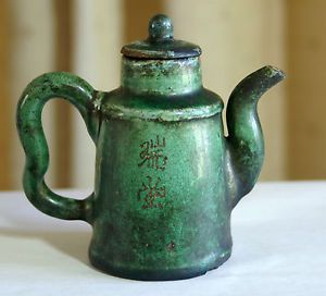 Antique-Chinese-tea-pot-green-ceramic-5-tall