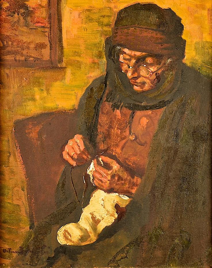 Octav Băncilă (1872-1944) – FEMEIE CU LUCRUL DE MÂNĂ