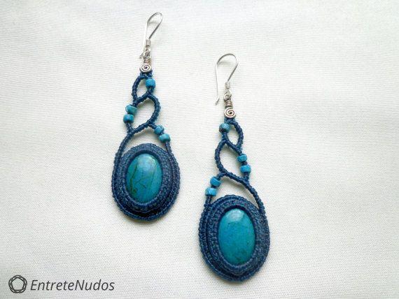 Gorgeous long blue-green macrame earrings with por EntreteNudos
