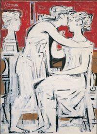γιάννης μόραλης πινακες - Γιάννης Μόραλης, Επιτύμβια σύνθεση (1958), αυγό και λάδι σε χάρντμπορντ, 107 x 78 εκ., Εθνική Πινακοθήκη και Mουσείο Aλεξάνδρου Σούτζου. «