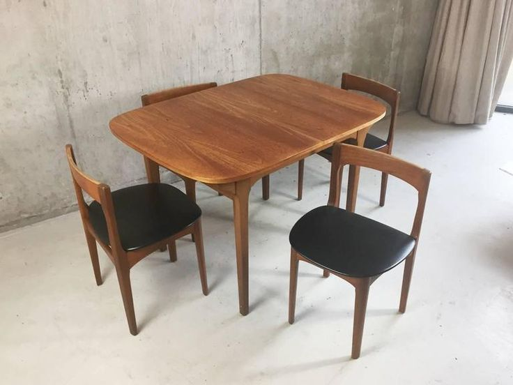 1970s Mid Century Dining Set Nathan Furniture Extendable Table And Four Vinyl