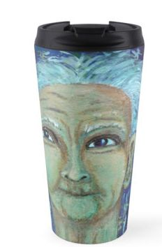 Auntie Ebb travel mug ~ http://www.redbubble.com/people/elizafayle/works/13682796-auntie-ebb?p=travel-mug  #woman #old #elderly #wise #crone
