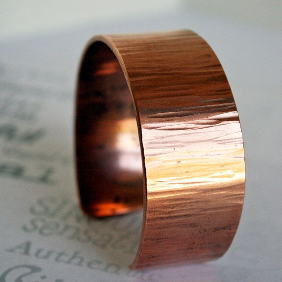 Reclaimed Copper Bark Texture Handmade Unisex by CapitalCityCrafts, $36.00 #jewelryonetsy #cuff