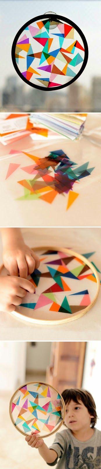 DIY Colorful geometric sun catcher