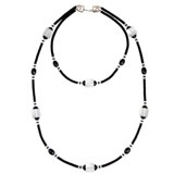 Pierre Cardin Sixties Lucite Necklace  FRANCE  SIXTIES  CLEAR AND BLACK LUCITE NECKLACE WITH FAUX DIAMOND SPACERS WITH PIERRE CARDIN CLASP