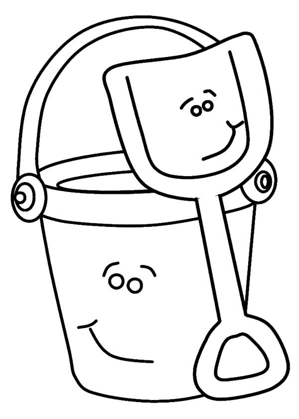 Smiling Beach Bucket And Shovel Coloring Pages Best Place To