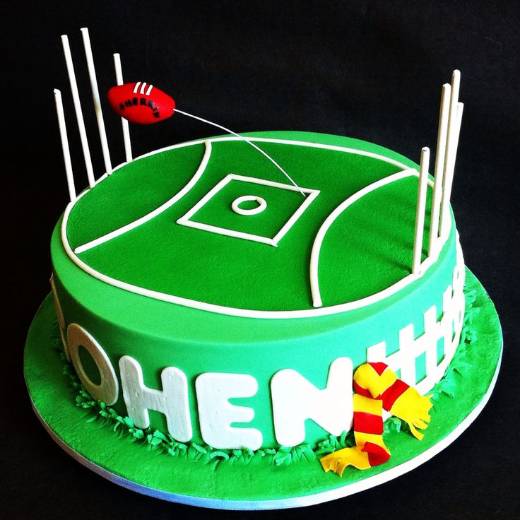 AFL footy field cake for a mad Gold Coast Suns fan - Cakes by Lou