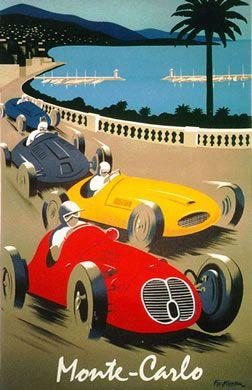 Monte Carlo - Monaco, Grand Prix  ~Repinned Via Essenza di Riviera  #vintage #poster #essenzadiriviera