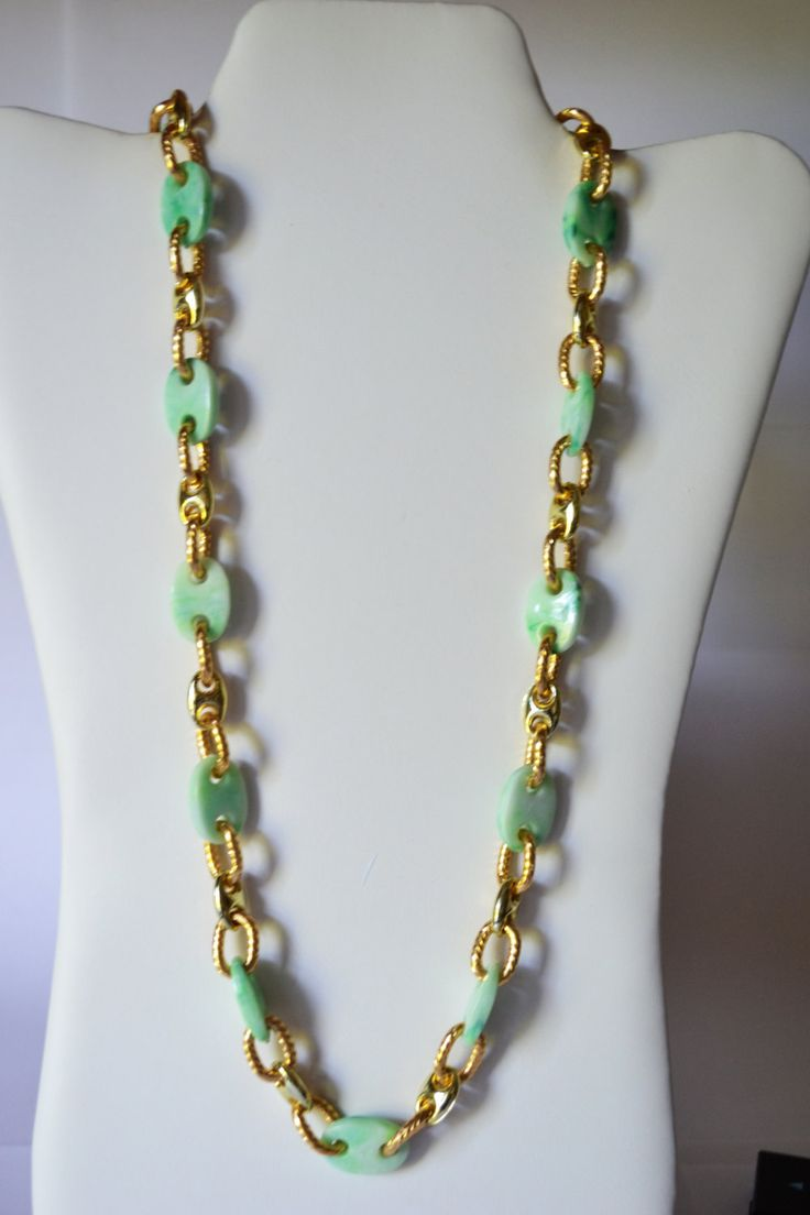 Chain Necklace Green and Gold plated Chain Vintage Jewelry #NKB3 2 20 by eventsmatters on Etsy