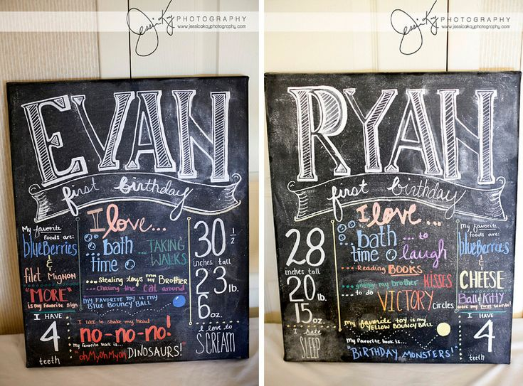 WOW! Gorgeous hand drawn chalkboards for twin boys' first birthday! Love them!