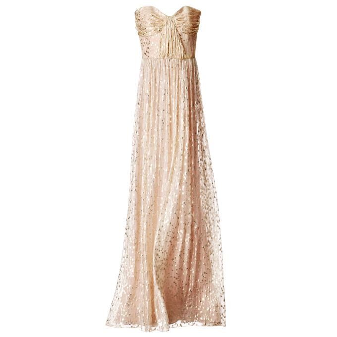 Brides.com: Style Inspiration: Gustav Klimt's The Kiss. Silk-chiffon shirred party dress, $550, Erin by Erin Fetherston, Bloomingdale's.  See more gold wedding dresses