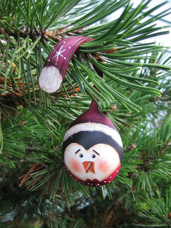 "3.5"" Penguin with Santa Hat Painted Spoon Ornament. $15.00, via Etsy."