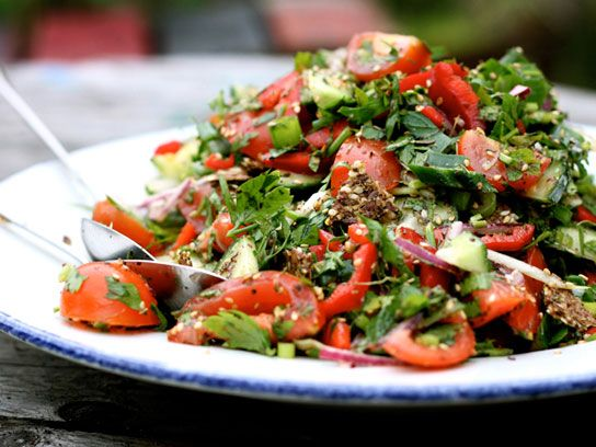 This Lebanase-style salad from My New Roots tosses healthy tomatoes, cucumber, mint, parsley, and more with the traditional Middle Eastern spice-blend, za'atar, which tastes of sumac, sesame seed, and herbs. It's traditionally served with fried pita, but you can also pack flatbread or crackers for this lunch.