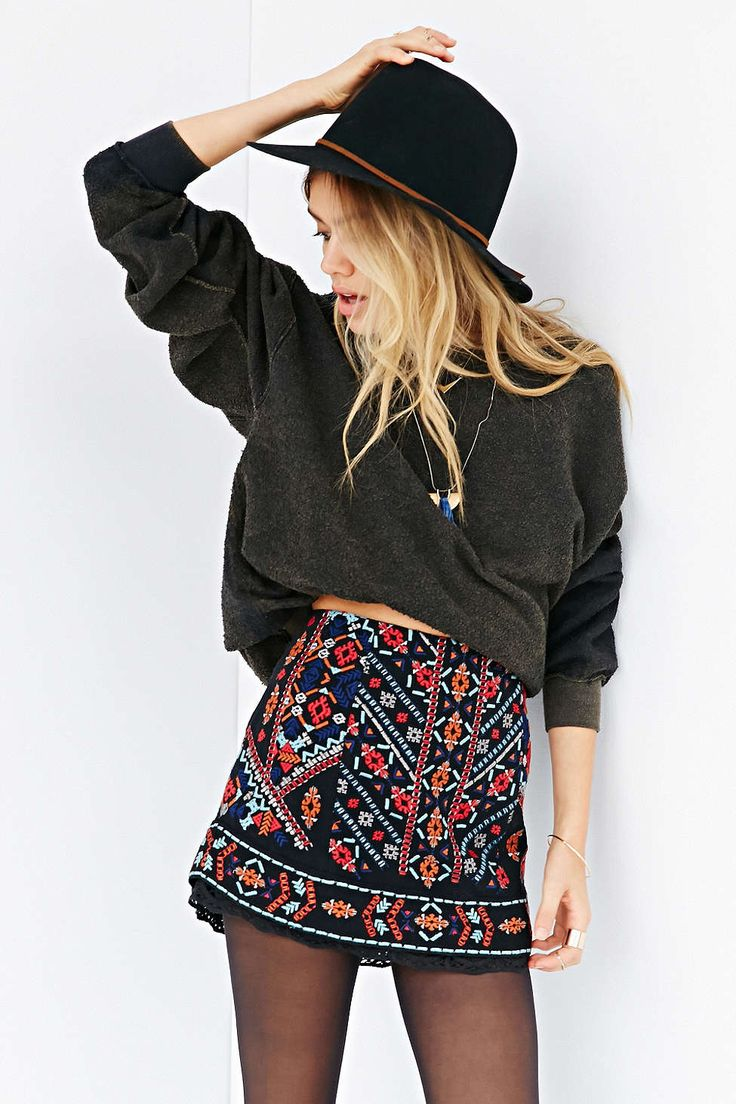 Ecote Nattie Embroidered Mini Skirt #UrbanOutfitters