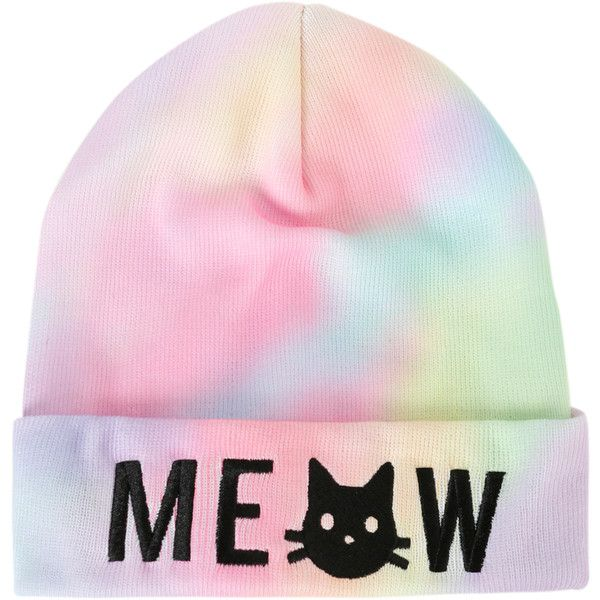 Meow Cat Rainbow Dye Watchman Beanie | Hot Topic ($3.60) ❤ liked on Polyvore featuring accessories, hats, beanies, head, cat hat, beanie hats, knit beanie, knit cat hat and embroidered beanie hats