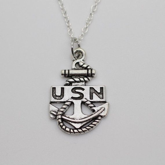 United States Navy Charm Necklace  Silver US Navy Anchor