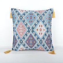 16x16'' Fabric kilim Style pillow blue pillow, turkish fabric kilim pillow - $13.00