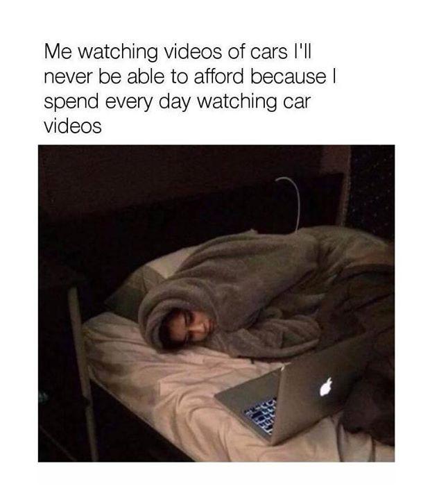"Me to me: ""Why are you like this?"" Car memes #CarDoings #Cars #Automotive #Ferrari #BMW #M3 #M4 #M5 #Mercedes #AMG #Porsche #Audi #Honda #Ford #Volkswagen #Volvo #Kia #Mazda #Chrysler #Subaru #Lexus #Dodge #Hyundai #Chevrolet #Jeep #Nissan #Toyota #Tesla #Car #Supercar"