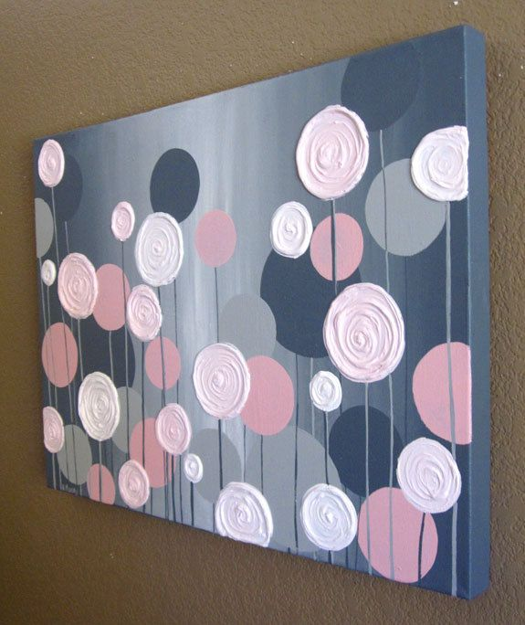 Kids Wall Art, Pink and Grey Textured Flowers, 18x24 Acrylic Painting on Canvas, Made to Order. $129.00, via Etsy.