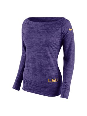 The Nike College Warp Epic Crew (LSU) Women's Sweatshirt. Logo at the bottom and boatneck make this a stylish alternative to a game day t-shirt.
