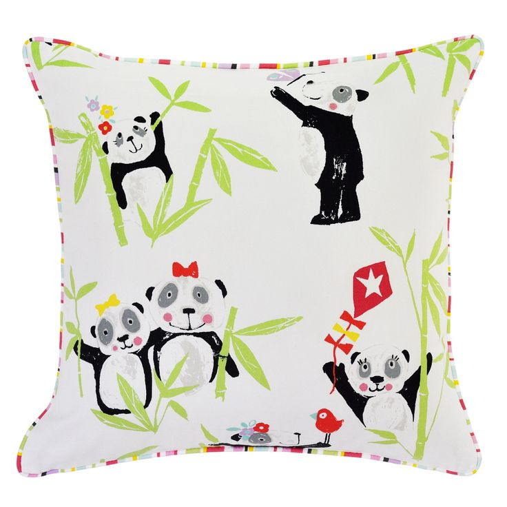 Panda Apple Cushion with Ripley Pink Piping - 45x45cm