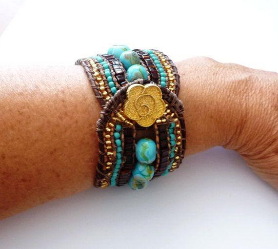 Beaded braided leather cuff / Ibiza style by Beadsagogo on Etsy, $70.00