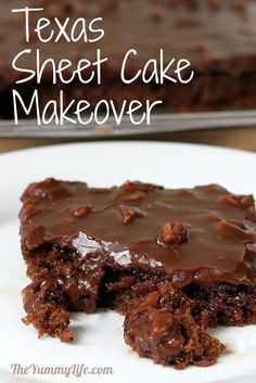 Texas Sheet Cake Makeover: lighter, healthier version yet it still tastes just like the original recipe!