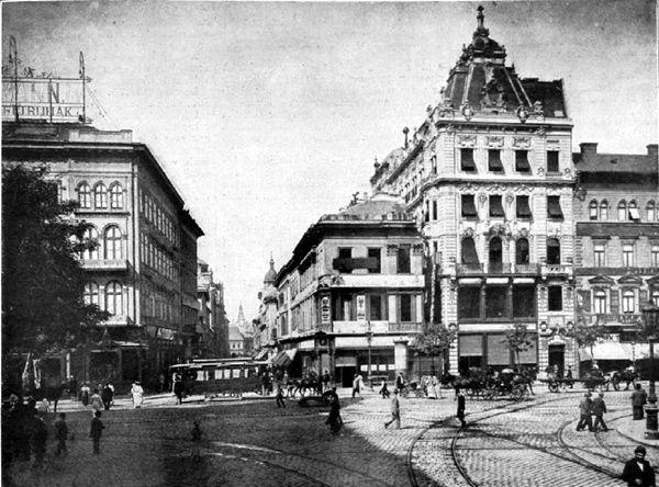 Budapest, 1895. Astoria & Kossuth Lajos utca before Elisabeth bridge was built.