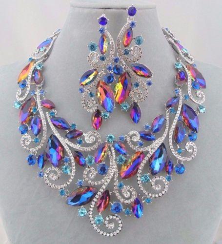 Blue-Rainbow-Crystal-Rhinestone-Statement-Necklace-Earring-Set-Breathtaking