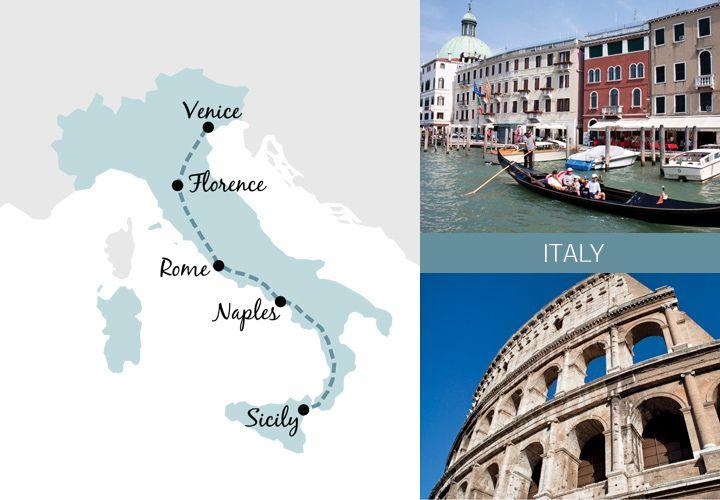 Un voyage d'une semaine itinéraire ferroviaire en Italie