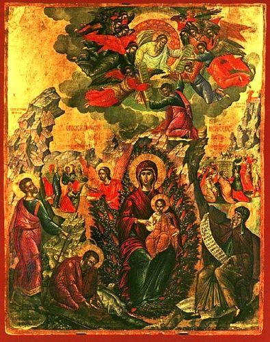 "Virgin Mary ""The burning bush"". 16th c. Michael Damaskenos. St Catherine of SInai Museum, Herakleion, Greece."
