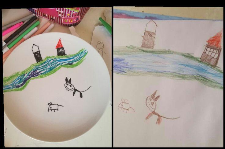 disegni dei bambini fiume castello gatto topo famiglia mamma pappa nipoti idea regalo piatto art ricordo  fatto a mano di ButterflyFeltItaly su Etsy