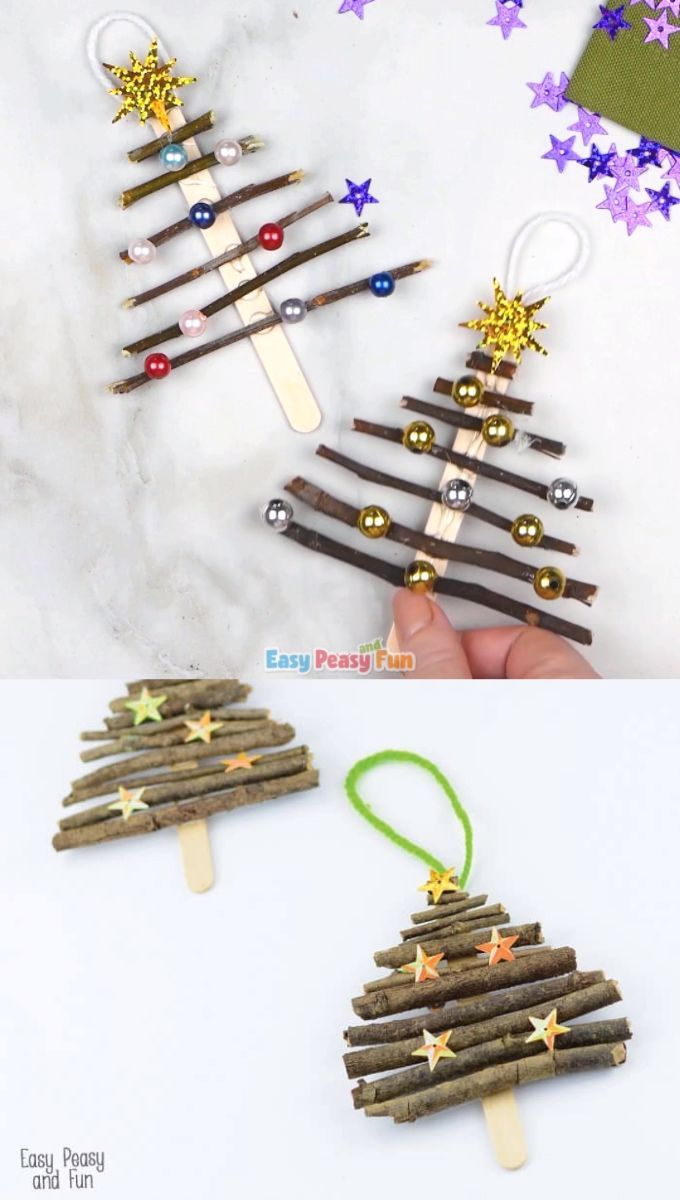 Popsicle Stick And Twigs Christmas Tree Ornaments Christmas Crafts Twig Christmas Tree Christmas Diy