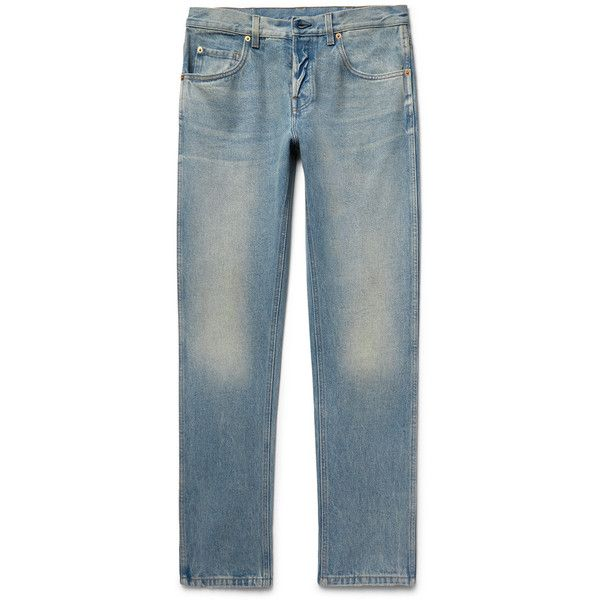 Gucci Slim-Fit Distressed Stonewashed Denim Jeans ($535) ❤ liked on Polyvore featuring men's fashion, men's clothing, men's jeans, mens stone wash jeans, mens destroyed jeans, mens slim cut jeans, mens slim fit jeans and mens stonewash jeans