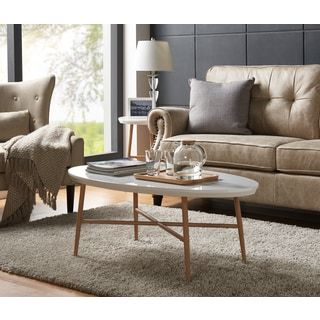 Handy Living Miami White Oval Coffee Table with Light Oak Metal Legs | Overstock.com Shopping - The Best Deals on Coffee, Sofa & End Tables