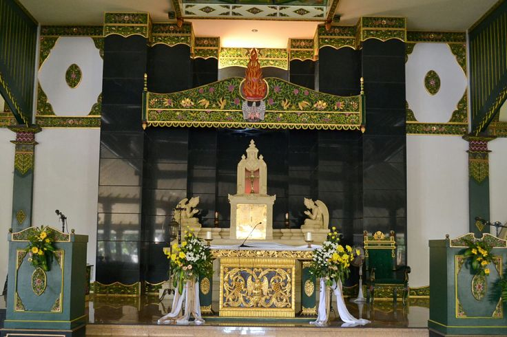 The Sacred Heart of Jesus Chruch, The Altar in Javanese style interior design...