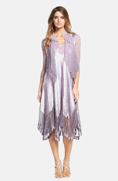 Komarov Beaded Charmeuse A-Line Dress with Chiffon Jacket (Regular & Petite) available at #Nordstrom